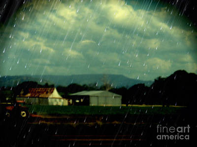 Shed Digital Art - Rain Over Grantham by Therese Alcorn