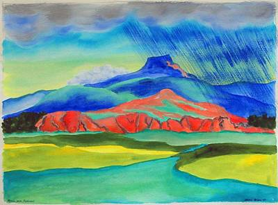 Chama River Painting - Rain Over Pedernal by Annie Horkan
