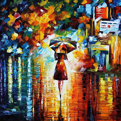 Rain Princess - Palette Knife Figure Oil Painting On Canvas By Leonid Afremov Original by Leonid Afremov