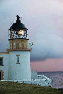 Grey Clouds Photograph - Rain Showers At Sunset Over Stoer Point by Ashley Cooper