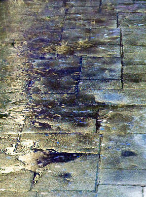 Photograph - Rain - Sidewalk - Reflection 3 by Laurie Tsemak