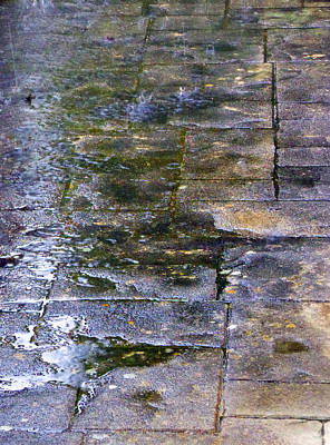 Photograph - Rain - Sidewalk - Reflection by Laurie Tsemak