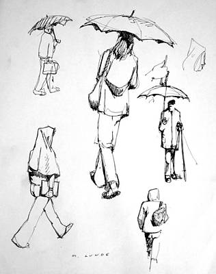 Drawing - Rain Walkers by Mark Lunde