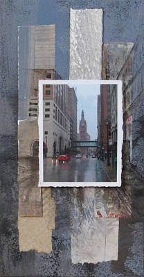 Mixed Media - Rain Water Street W City Hall by Anita Burgermeister