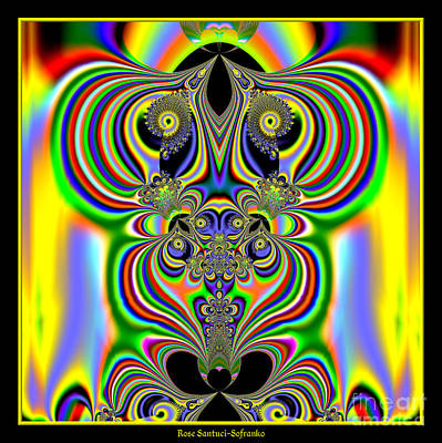 Digital Art - Rainbow Alien Owls Fractal 57 by Rose Santuci-Sofranko