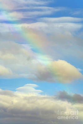 Photograph - Rainbow And Cumulus Clouds Lava Beds N M by Yva Momatiuk John Eastcott