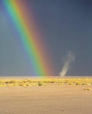 Rainbow And Dust Devil Art Print by Peter J. Raymond