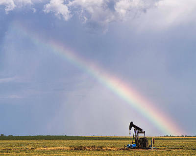 Photograph - Rainbow And Oil Pump by Rob Graham