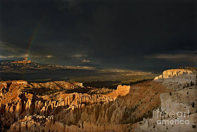 Photograph - Rainbow And Thunderstorm Bryce Canyon National Park Ut by Dave Welling