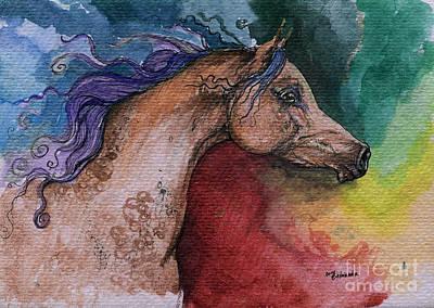 Rainbow Horses Drawing - Rainbow Arabian by Angel  Tarantella