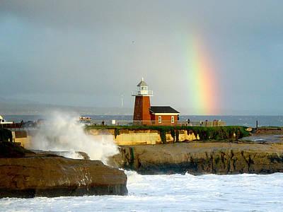 Rainbow At Santa Cruz Lighthouse Art Print