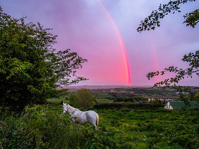 Rainbow At Sunset In County Clare Art Print