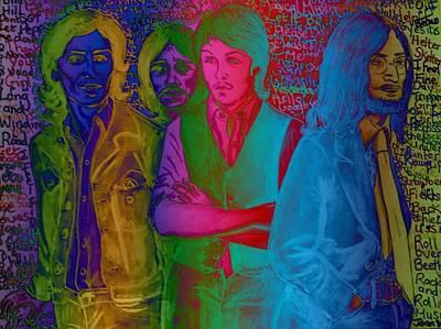 Fab Four Mixed Media - Rainbow Beatles Series Blue Jacket John by Joan-Violet Stretch