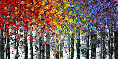 Contemporary Painting - Rainbow Birch Trees by Susanna Shap