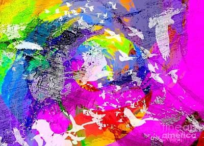 Digital Art - Rainbow Bird Collage 20150209 by Julie Knapp
