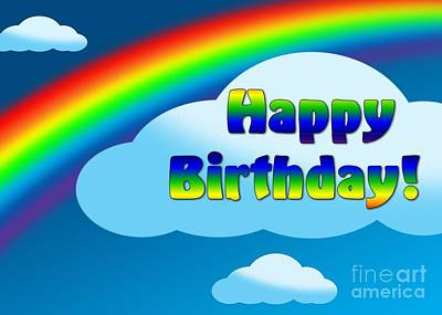 Digital Art - Rainbow Birthday by JH Designs
