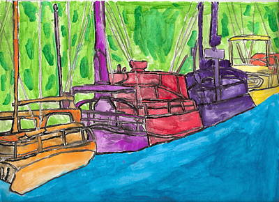 Art Print featuring the painting Rainbow Boats by Artists With Autism Inc