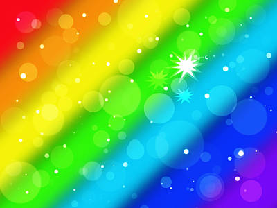 Illuminated Wall Decorations Photograph - Rainbow Bokeh Circles And Stars by Gill Billington