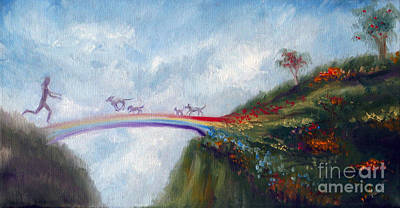 Dachshund Puppy Painting - Rainbow Bridge by Stella Violano