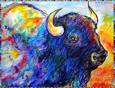 Painting - Rainbow Buffalo by M C Sturman