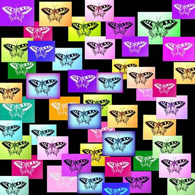 Andy Warhol Drawing - Rainbow Butterflies by Cathy Jacobs