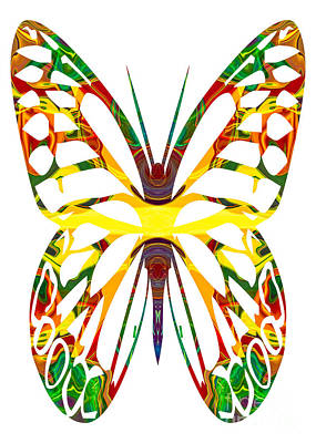 Rainbow Butterfly Abstract Nature Artwork Art Print by Omaste Witkowski