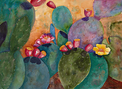 Prickly Pear Painting - Rainbow Cactus by Renee Chastant