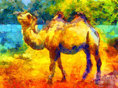 Abstract Wildlife Digital Art - Rainbow Camel by Pixel Chimp