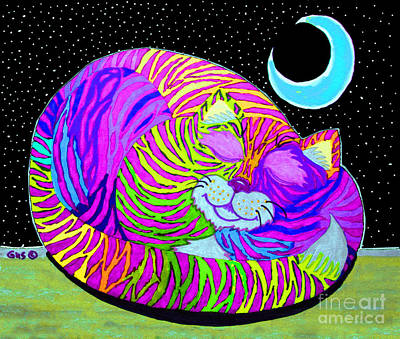 All Black On Trend - Rainbow Cat Blue Moon by Nick Gustafson