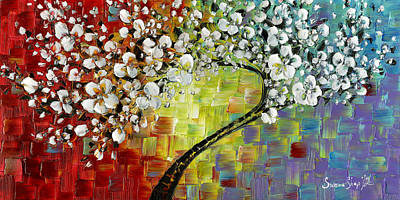 Cherry Blossom Painting - Rainbow Cherry Blossom by Susanna Shap