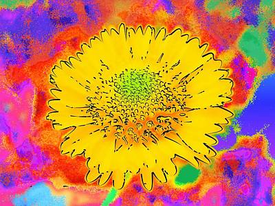 Digital Art - Rainbow Colored Sunshine Flower- Because I'm Happy by David Mckinney