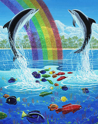 A Fish Out Of Water Painting - Rainbow Connection by Michael Phillips