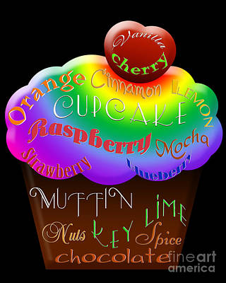 Raspberry Digital Art - Rainbow Cupcake Typography by Andee Design