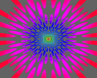 Painting - Rainbow Daisy Mandala Blue Pink Red by Paul Ashby
