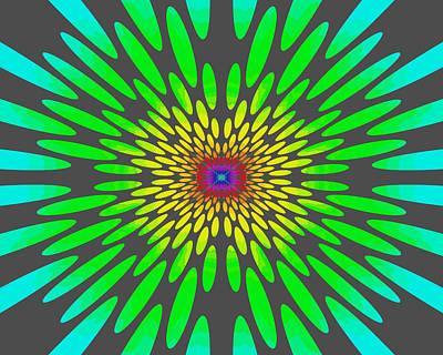 Painting - Rainbow Daisy Mandala Green by Paul Ashby