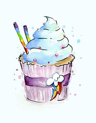 Cartoon Painting - Rainbow-dash-themed Cupcake by Olga Shvartsur