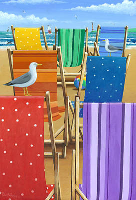 Rainbow Deckchairs Art Print
