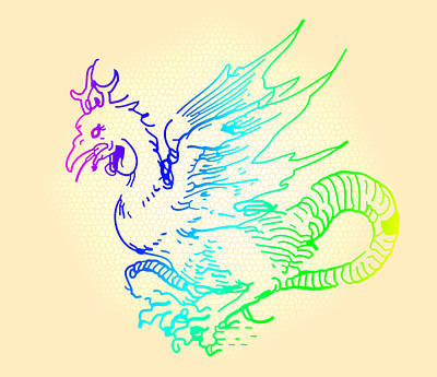 Rainbow Dragon Art Print by