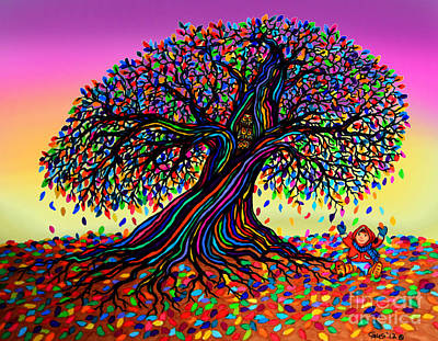 Fantasy Tree Mixed Media - Rainbow Dreams And Falling Leaves by Nick Gustafson
