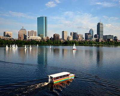 Hancock Building Digital Art - Rainbow Duck Boat On The Charles by Toby McGuire
