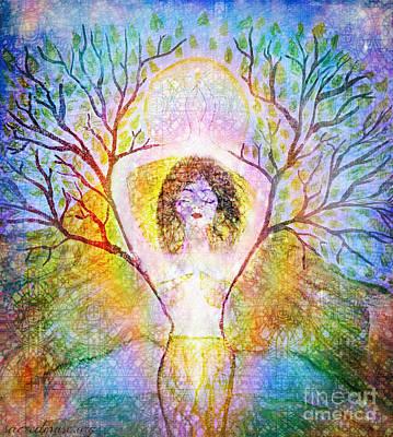 Rainbow Earth Goddess Print by Sacred  Muse