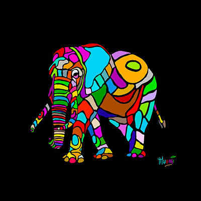 Rainbow Elephant Original by Anthony Mwangi
