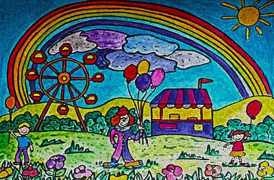 Ferris Wheel Drawing - Rainbow Fair by Monica Engeler