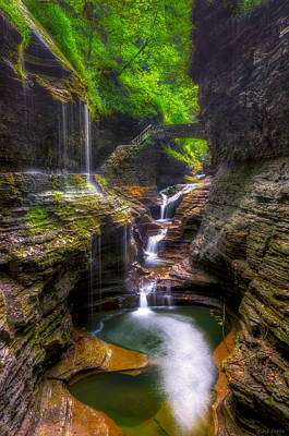 Rainbow Falls Of Watkins Glen Art Print by Mark Papke