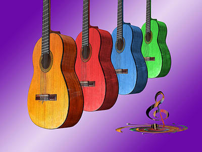 Photograph - Rainbow Fantasia On Guitars by Gill Billington