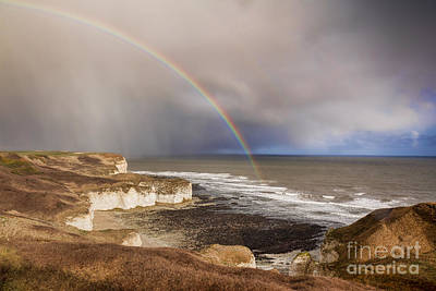 Winter Landscapes Photograph - Rainbow Flamborough Head Yorkshire England by Colin and Linda McKie
