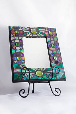 Mosaic Mirrors Glass Art - Rainbow Flower Stained Glass Mosaic Mirror Frame  by Wendy Wehe-Ballone