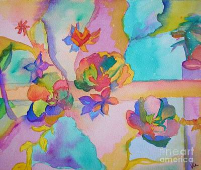 Painting - Rainbow Flowers by Judy Via-Wolff