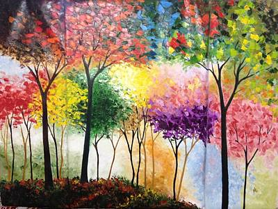 Pink Black Tree Rainbow Painting - Rainbow Forest by Shilpi Singh