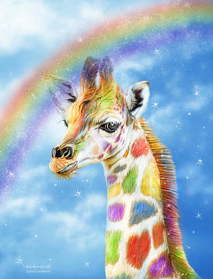 Mixed Media - Rainbow Giraffe by Carol Cavalaris